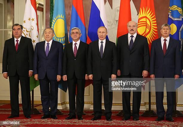 Tajik President Emomali Rakhmon Kazakh President Nursultan Nazarbayev Armenian President Serzh Sargsyan Russian President Vladimir Putin Belarussian...