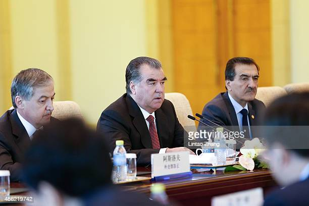 Tajikistan President Emomali Rakhmon meets with Chinese President Xi Jinping at Diaoyutai State Guesthouse on September 2 2015 in Beijing China...