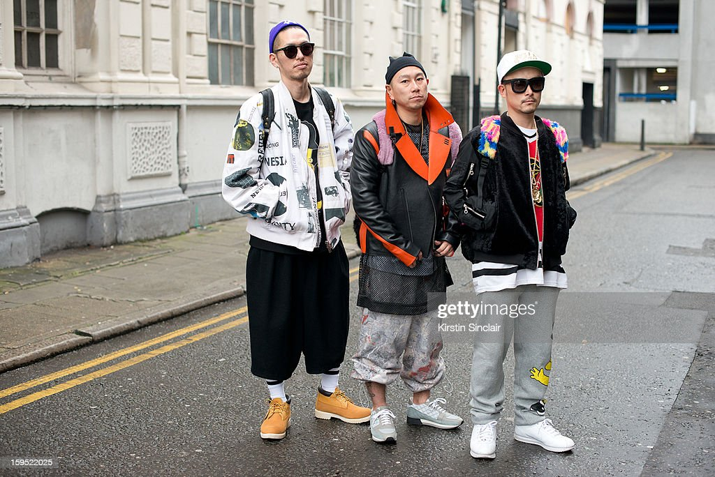 Taka Okude, Mitsu Kubo and Tom Hirota on day 3 of London Mens Fashion Week Autumn/Winter 2013, on January 09, 2013 in London, England.