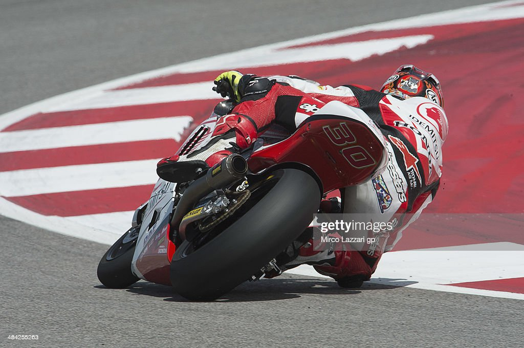Takaaki Nakagami of Japan and Idemitsu Honda Team Asia rounds the bend during the MotoGp Red Bull U.S. Grand Prix of The Americas - Free Practice at Circuit of The Americas on April 11, 2014 in Austin, Texas.