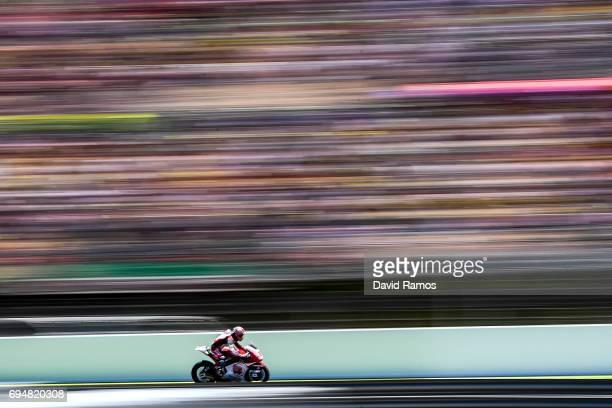 Takaaki Nakagami of Japan and Idemtsu Honda Team Asia rides during the Moto2 of Catalunya at Circuit de Catalunya on June 11 2017 in Montmelo Spain