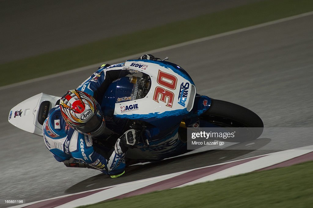 Takaaki Nakagami of Japan and Italtrans Racing Team rounds the bend during the MotoGp of Qatar - Qualifying at Losail Circuit on April 6, 2013 in Doha, Qatar.