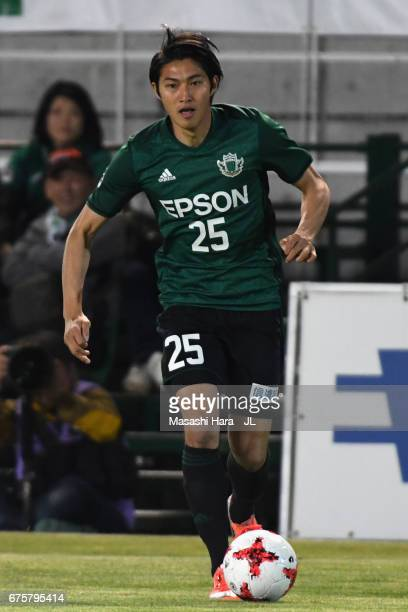 Takaaki Shichi of Matsumoto Yamaga in action during the JLeague J2 match between Matsumoto Yamaga and Kamatamare Sanuki at Matsumotodaira Park...