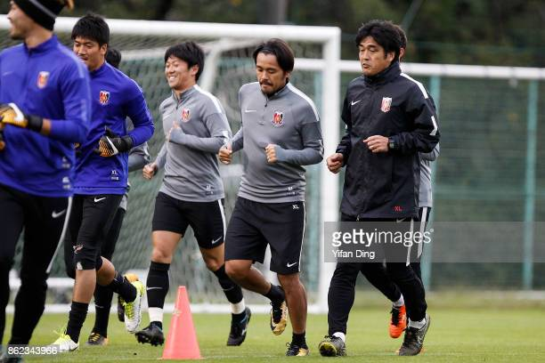 Takafumi Hori the head coach of Urawa Red Diamonds attends a training session ahead of the AFC Champions League semi final second leg match between...