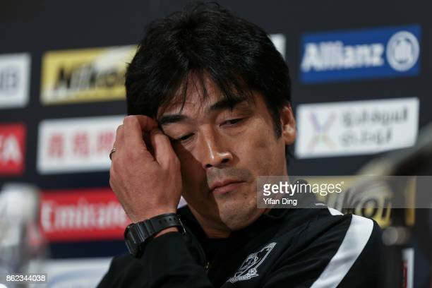 Takafumi Hori the head coach of Urawa Red Diamonds attends the press conference ahead of the AFC Champions League semi final second leg match between...