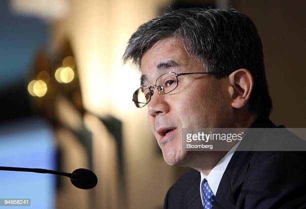 Takafumi Sato commissioner of Japan's Financial Services Agency speaks during a news conference at the Foreign Correspondents' Club of Japan in Tokyo...