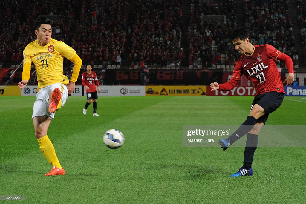 Takahide Umebachi #27 of Kashima Antlers in action during the AFC Champions League Group H match between Kashima Antlers and Guangzhou Evergrande at Kashima Stadium on April 7, 2015 in Kashima, Japan.