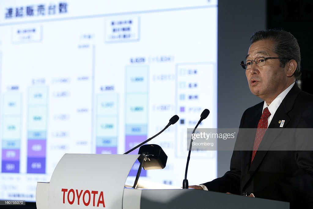 Takahiko Ijichi, senior managing officer at Toyota Motor Corp., speaks during a news conference in Tokyo, Japan, on Tuesday, Feb. 5, 2013. Toyota, the world's biggest carmaker, raised its profit forecast after the yen weakened more than any other currency, raising the value of Japanese cars sold overseas. Photographer: Kiyoshi Ota/Bloomberg via Getty Images