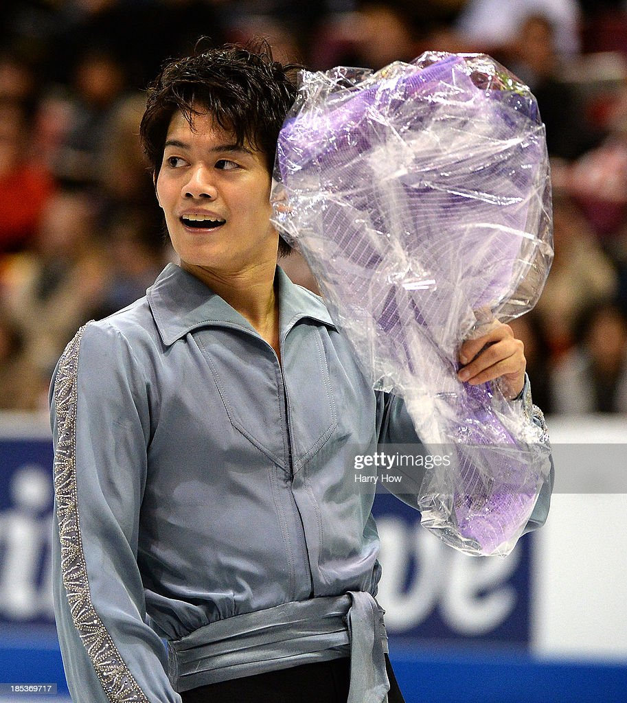 <a gi-track='captionPersonalityLinkClicked' href=/galleries/search?phrase=Takahiko+Kozuka&family=editorial&specificpeople=686867 ng-click='$event.stopPropagation()'>Takahiko Kozuka</a> of Japan reacts as he leaves the ice after his skate in the men's free skate program at Skate America 2013 at Joe Louis Arena on October 19, 2013 in Detroit, Michigan.