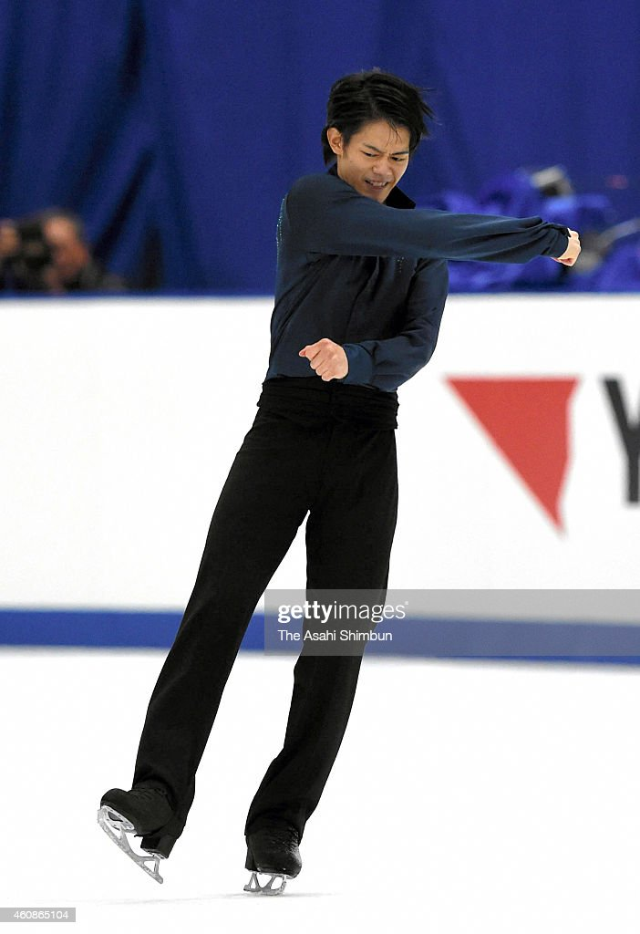 <a gi-track='captionPersonalityLinkClicked' href=/galleries/search?phrase=Takahiko+Kozuka&family=editorial&specificpeople=686867 ng-click='$event.stopPropagation()'>Takahiko Kozuka</a> reacts after competing in the Men's Singles Free Program during day two of the 83rd All Japan Figure Skating Championships at the Big Hat on December 27, 2014 in Nagano, Japan.