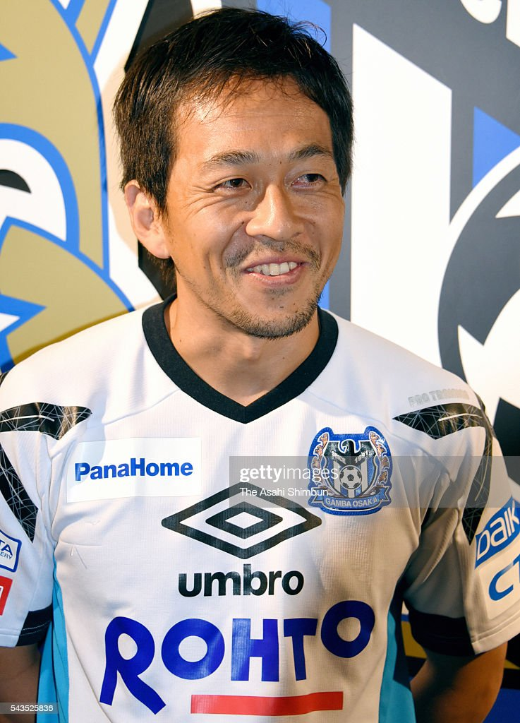 Takahiro Futagawa of Gamba Osaka meets fans at the Suita Football Stadium a day after announcing his loan move to Tokyo Verdy on June 29, 2016 in Suita, Osaka, Japan.