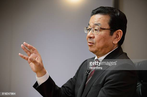 Takahiro Hachigo president and chief executive officer of Honda Motor Co speaks during an interview in Tokyo Japan on Wednesday March 16 2016 Nine...