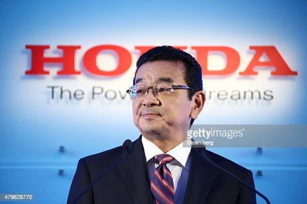 Takahiro Hachigo president of Honda Motor Co pauses during a news conference in Tokyo Japan on Monday July 6 2015 Honda's new president pledged to...