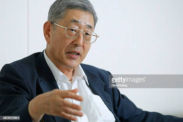 Takahiro Mitani president of the Government Pension Investment Fund speaks during an interview in Tokyo Japan on Tuesday July 14 2015 The world's...