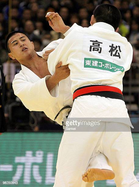 Takahiro Nakai and Masahiro Takamatsu compete at the Men's 81kg Final during the day two of the All Japan Selected Judo Championship at Fukuoka...