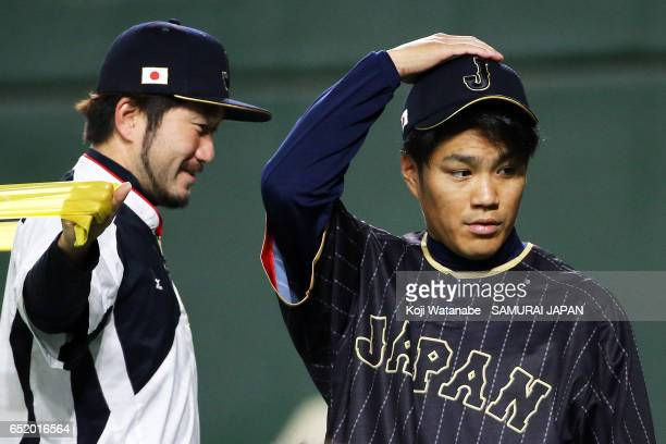 Takahiro Norimoto of SAMURAI JAPAN in action during on the practice day during the World Baseball Classic at Tokyo Dome on March 11 2017 in Tokyo...