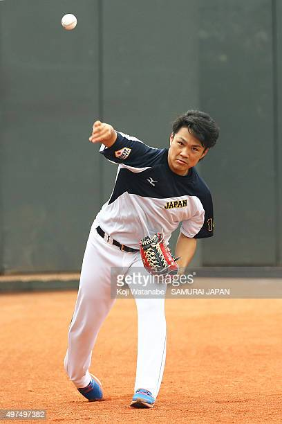 Takahiro Norimoto of Japan in action during on a training session ahead of the WBSC Premier 12 semi final match against South Korea at the Taoyuan...