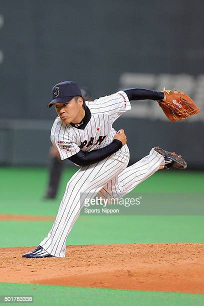 Takahiro Norimoto of Japan in action during the WBSC Premier 12 match between Japan and South Korea at the Sapporo Dome on November 8 2015 in Sapporo...