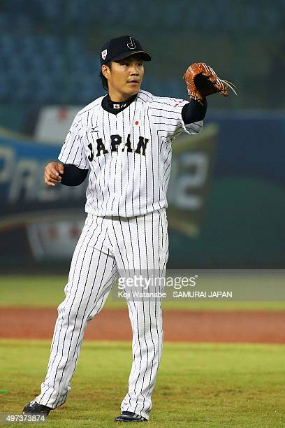 Takahiro Norimoto of Japan looks on in the top of eighth inning during the WBSC Premier 12 quarter final match between Japan and Puerto Rico at the...