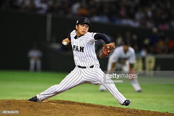Takahiro Norimoto of Japan throws in the top of eighth inning during the WBSC Premier 12 semi final match between South Korea and Japan at the Tokyo...