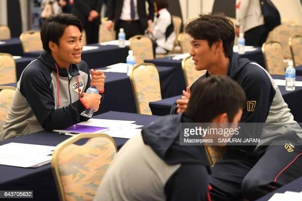 Takahiro Norimoto Shintaro Fujinami of Samurai Japan players during the training camp team meeting ahead of the World Baseball Classic 2017 on...