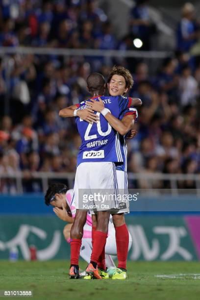 Takahiro Ogihara and Martinus of Yokohama FMarinos celebrate their 10 victory in the JLeague J1 match between Yokohama FMarinos and Sagan Tosu at...
