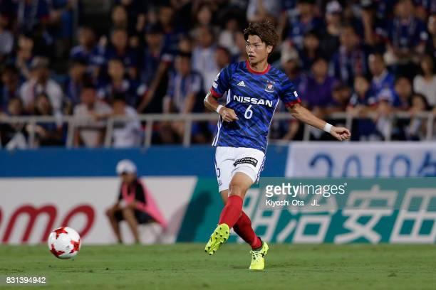 Takahiro Ogihara of Yokohama FMarinos in action during the JLeague J1 match between Yokohama FMarinos and Sagan Tosu at Nippatsu Mitsuzawa Stadium on...