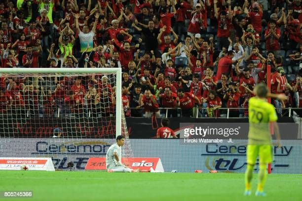 Takahiro Sekine of Urawa Red Diamonds celebrates scoring his side's fourth goal to make it 43 during the JLeague J1 match between Urawa Red Diamonds...