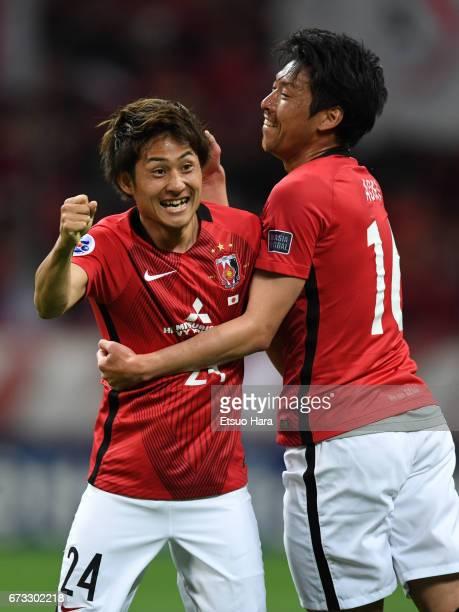 Takahiro Sekine of Urawa Red Diamonds celebrates scoring his team's first goal during the AFC Champions League Group F match between Urawa Red...