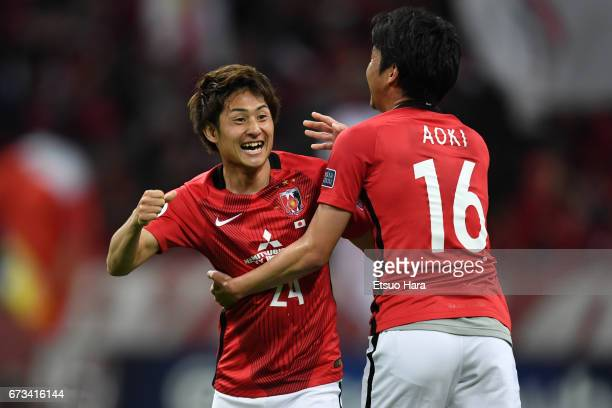 Takahiro Sekine of Urawa Red Diamonds celebrates scoring his team's first goal during the AFC Champions League Group F match between Urawa Red...