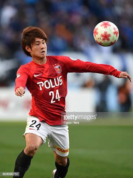 Takahiro Sekine of Urawa Red Diamonds in action during the 95th Emperor's Cup final between Urawa Red Diamonds and Gamba Osaka at Ajinomoto Stadium...
