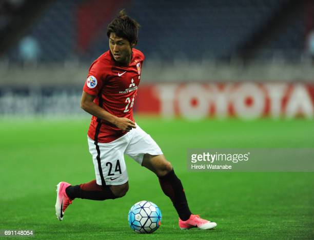 Takahiro Sekine of Urawa Red Diamonds in action during the AFC Champions League Round of 16 match between Urawa Red Diamonds and Jeju United FC at...