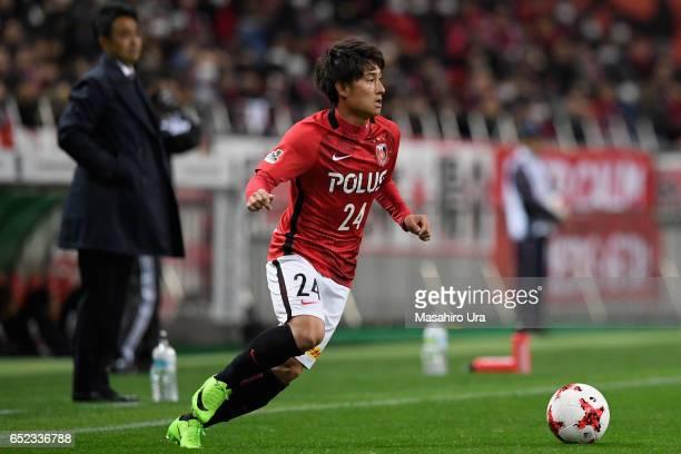 Takahiro Sekine of Urawa Red Diamonds in action during the JLeague J1 match between Urawa Red Diamonds and Ventforet Kofu at Saitama Stadium on March...