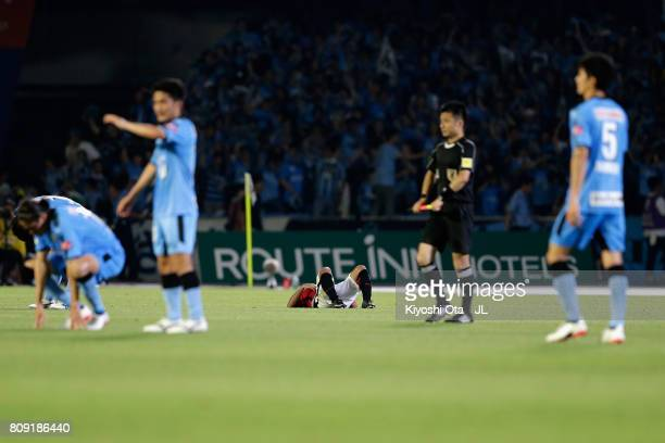 Takahiro Sekine of Urawa Red Diamonds reacts after his side's 14 defeat in the JLeague J1 match between Kawasaki Frontale and Urawa Red Diamonds at...