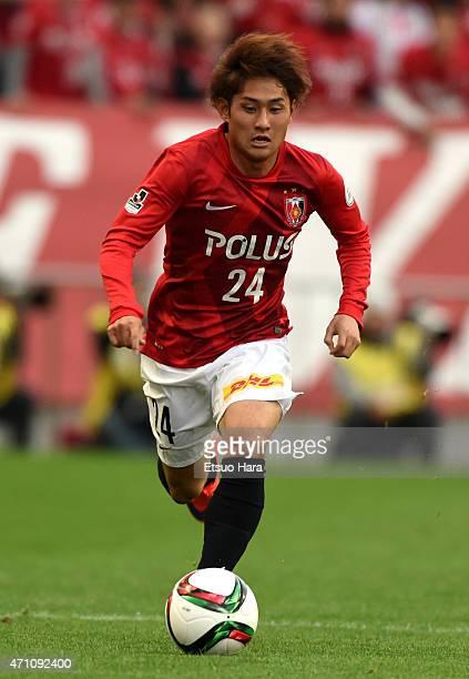Takahiro Sekine of Urawa Reds in action during the JLeague match between Urawa Red Diamonds and Nagoya Grampus at Saitama Stadium on April 25 2015 in...