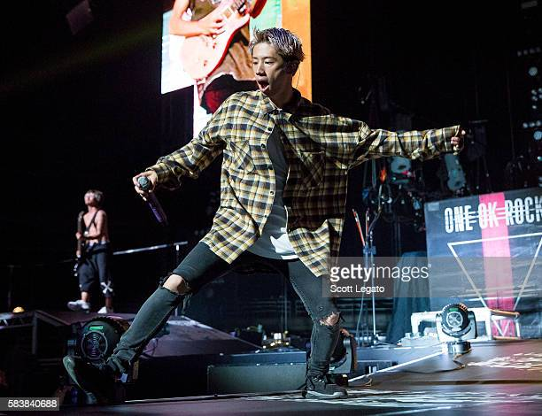 Takahiro 'Taka' Moriuchi of One OK Rock performs at The Palace of Auburn Hills on July 27 2016 in Auburn Hills Michigan