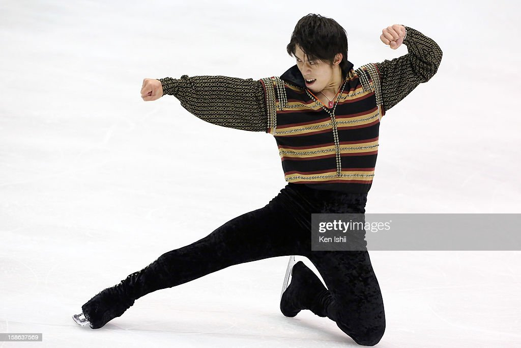 Takahito Mura competes in the Men's Free Program during day two of the 81st Japan Figure Skating Championships at Makomanai Sekisui Heim Ice Arena on December 22, 2012 in Sapporo, Japan.