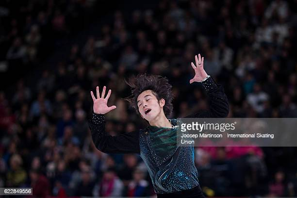 Takahito Mura of Japan competes during Men's Free Skating on day two of the Trophee de France ISU Grand Prix of Figure Skating at Accorhotels Arena...