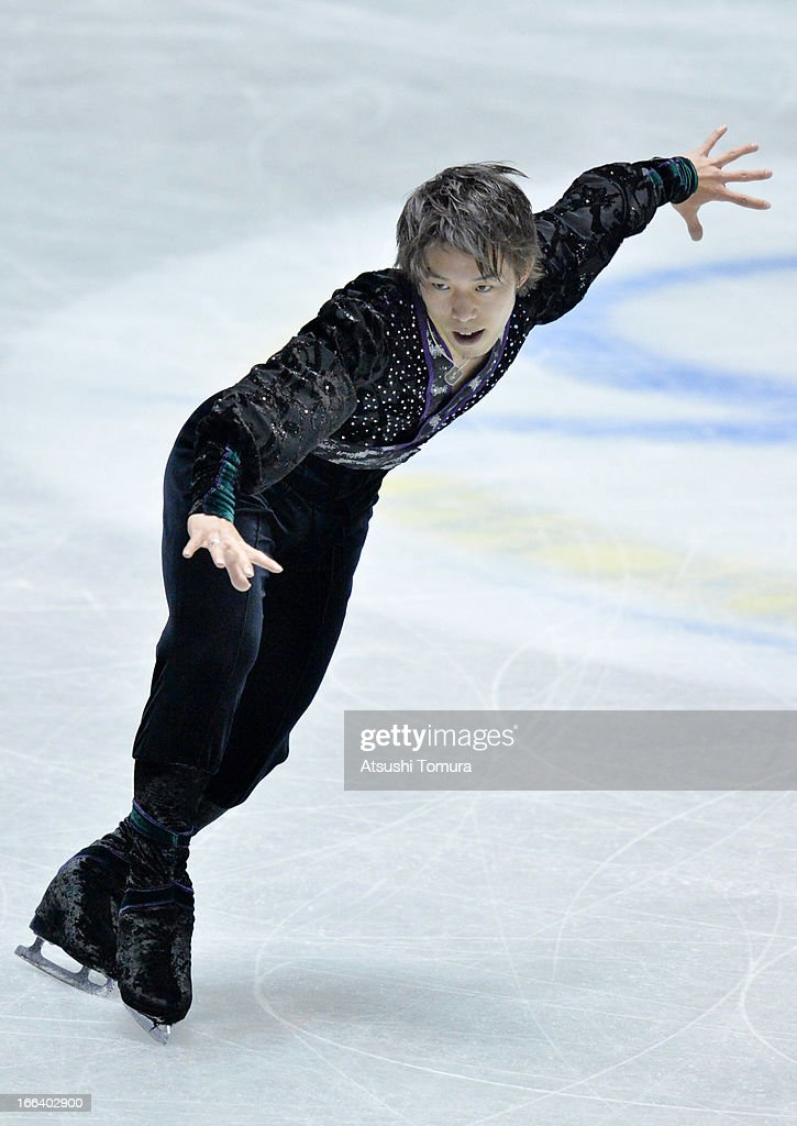 Takahito Mura of Japan competes in the men's free program during day two of the ISU World Team Trophy at Yoyogi National Gymnasium on April 12, 2013 in Tokyo, Japan.