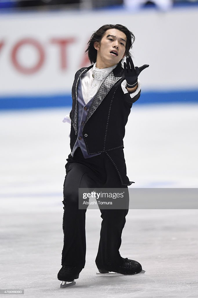<a gi-track='captionPersonalityLinkClicked' href=/galleries/search?phrase=Takahito+Mura&family=editorial&specificpeople=5621586 ng-click='$event.stopPropagation()'>Takahito Mura</a> of Japan competes in the men's free skating during the day two of the ISU World Team Trophy at Yoyogi National Gymnasium on April 17, 2015 in Tokyo, Japan.