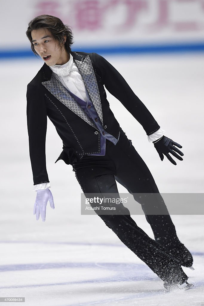 Takahito Mura of Japan competes in the men's free skating during the day two of the ISU World Team Trophy at Yoyogi National Gymnasium on April 17, 2015 in Tokyo, Japan.