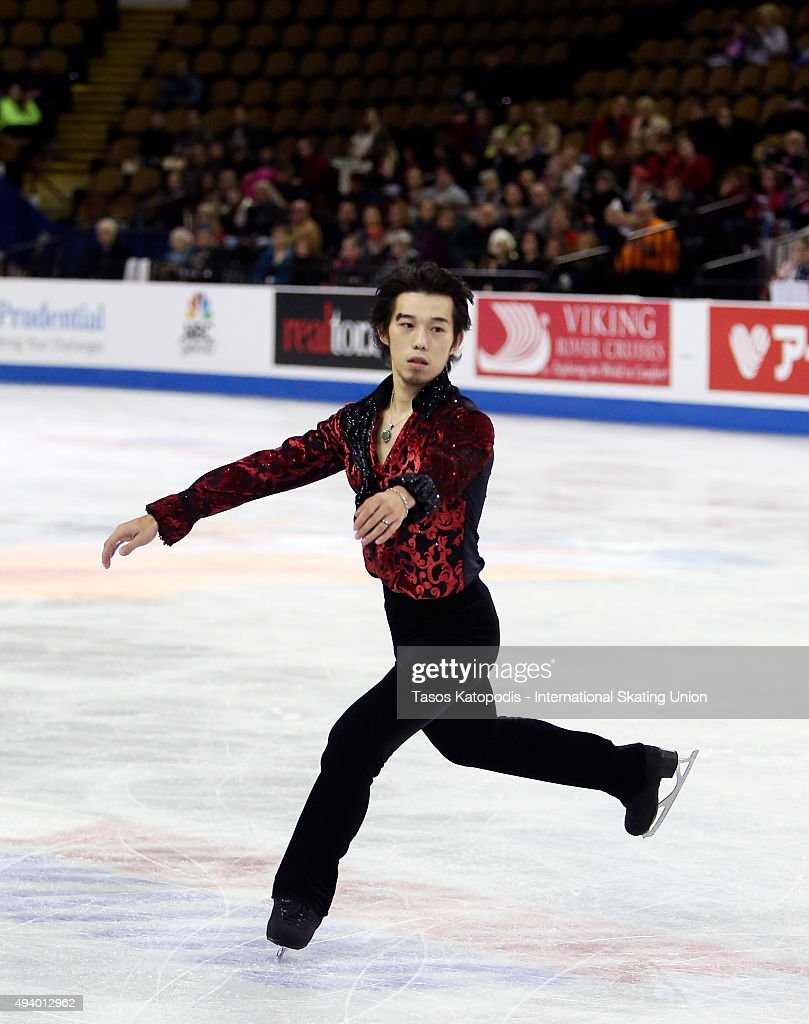 <a gi-track='captionPersonalityLinkClicked' href=/galleries/search?phrase=Takahito+Mura&family=editorial&specificpeople=5621586 ng-click='$event.stopPropagation()'>Takahito Mura</a> of Japan skates in the mens short program on October 23, 2015 in Milwaukee, Wisconsin.