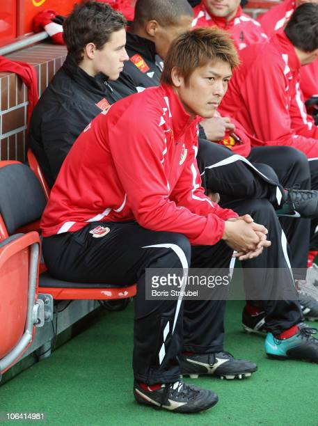 Takahito Soma of Cottbus sits on the bench prior to the Second Bundesliga match between FC Energie Cottbus and VfL Bochum at Stadion der Freundschaft...