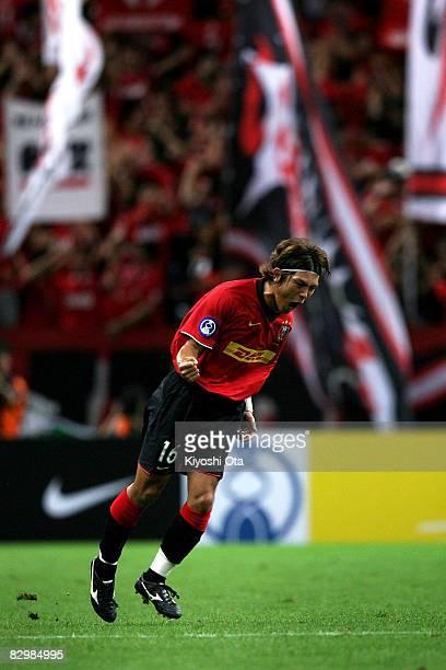 Takahito Soma of Urawa Red Diamonds celebrates his goal against Al Qadsia during the Asia Champions League quarter final 2nd leg match between Urawa...