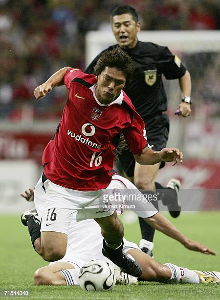 Takahito Soma of Urawa Red Diamonds in action during the friendly match between Urawa Red Diamonds All Stars and Bayern Munich All Stars on July 31...