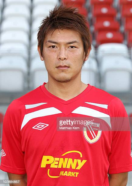 Takahito Soma poses during the FC Energie Cottbus team presentation at Stadion der Freundschaft on July 14 2010 in Cottbus Germany