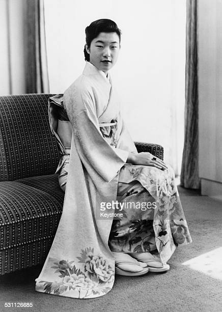 Takako Princess Suga the youngest daughter of Emperor Hirohito of Japan around the time of her engagement to financial analyst Hisanaga Shimazu 1959