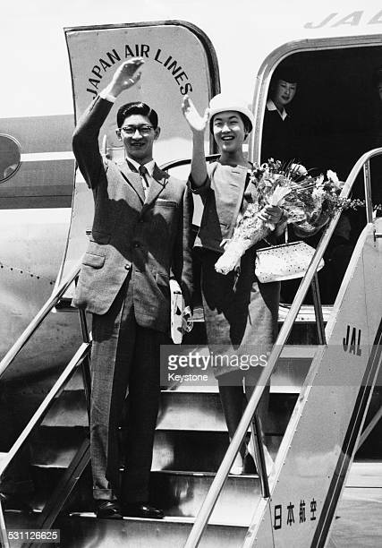 Takako Shimazu formerly the Princess Suga youngest daughter of Emperor Hirohito of Japan boarding a Japan Airlines aircraft in Tokyo with her husband...