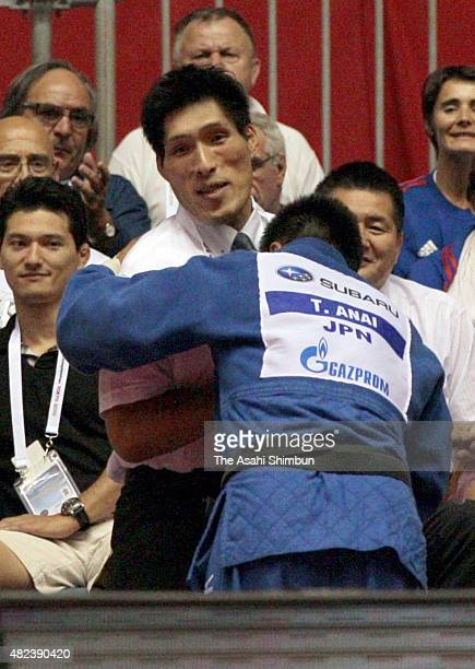 Takamasa Anai of Japan celebrates winning the Men's 100kg final with Japan men's national team head coach Shinichi Shinohara during day one of the...
