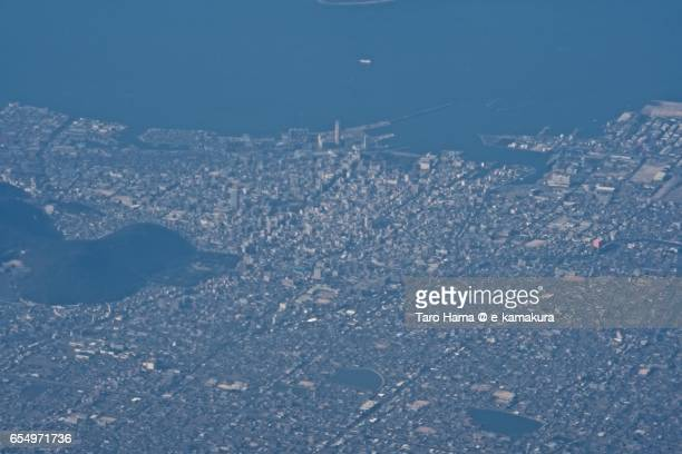 Takamatsu city and Seto Inland Sea, daytime aerial view from airplane